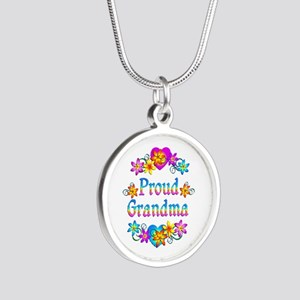 Proud Grandma Silver Round Necklace