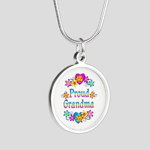 Proud Grandma Silver Round Necklace