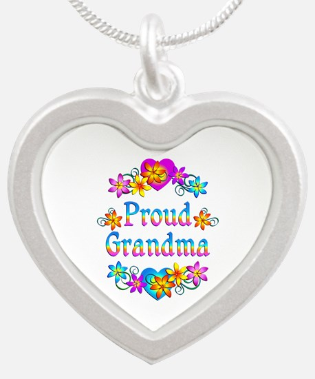 Proud Grandma Silver Heart Necklace