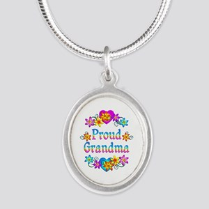 Proud Grandma Silver Oval Necklace