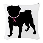 Pug Personalizable Breast Cancer Woven Throw Pillo