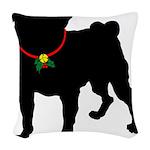 Pug Christmas or Holiday Silhouette Woven Throw Pi