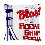 final rocket ship park Woven Throw Pillow