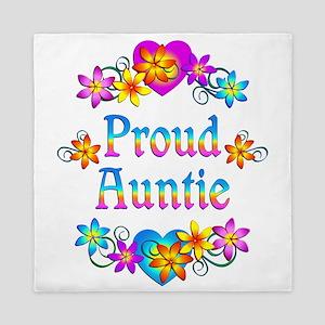 Proud Auntie Flowers Queen Duvet