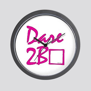 Dare to be square! (pink) Wall Clock