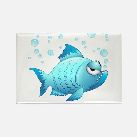 Grumpy Fish Cartoon Rectangle Magnet