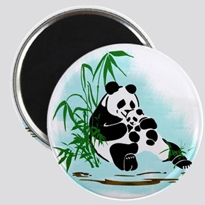 Panda Mom and Baby in Bamboo Clump Magnet
