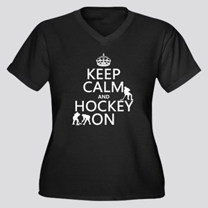 Keep Calm and Hockey On Plus Size T-Shirt