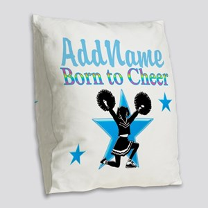 #1 CHEERLEADER Burlap Throw Pillow