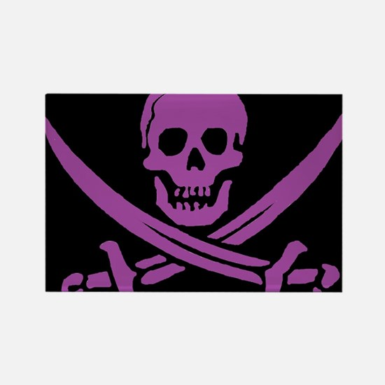 Purple Skull & Crossbones Rectangle Magnet