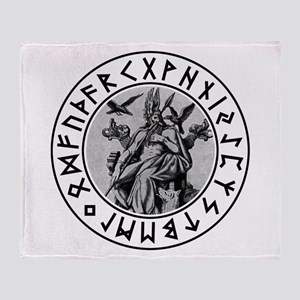Odin Rune Shield Throw Blanket