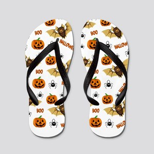 Bat, pumpkin and spider pattern Flip Flops