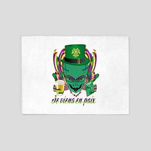 Mardi Gras Party Alien 3 5'x7'Area Rug