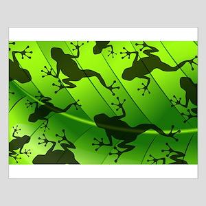 Frog Shape on Green Leaf Posters