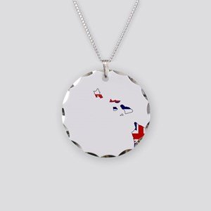 Hawaii State Outline Map and Necklace Circle Charm