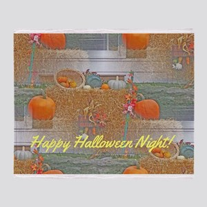Seamless Pumpkins on Haystack Throw Blanket