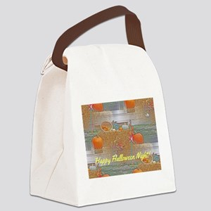Seamless Pumpkins on Haystack Canvas Lunch Bag