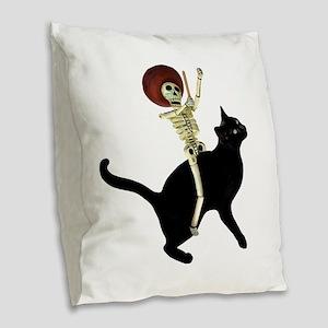 Skeleton on Cat Burlap Throw Pillow