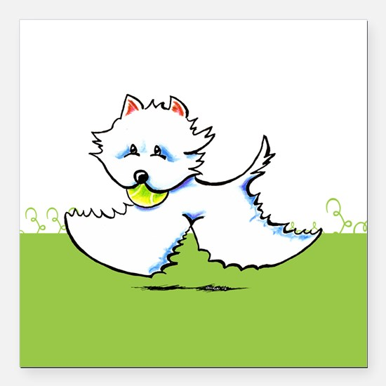 """Westie Playtime Square Car Magnet 3"""" x 3"""""""