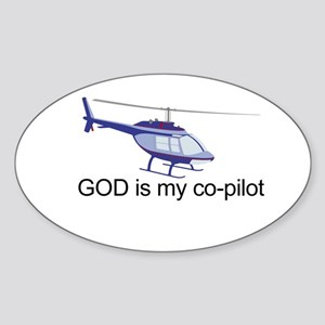 God is my co-pilot Oval Sticker