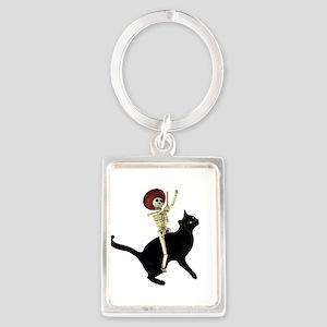 Skeleton on Cat Keychains