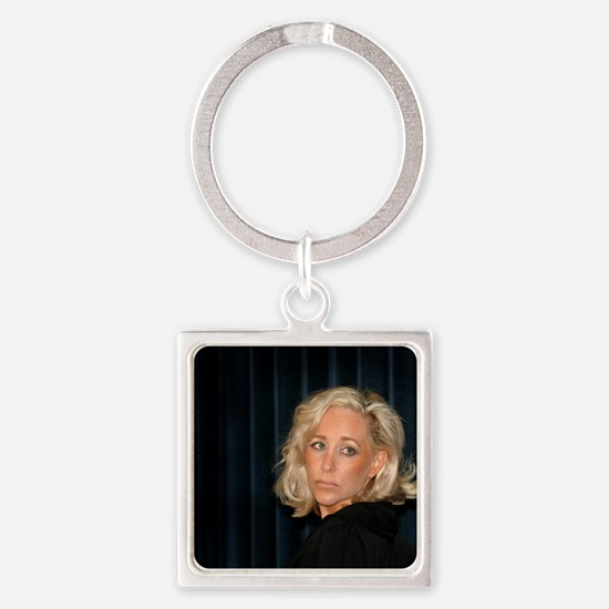 Blond Woman Square Keychain