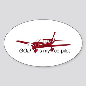 God is my co-pilot Fixed Oval Sticker