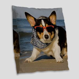 Beach Patrol Officer Burlap Throw Pillow