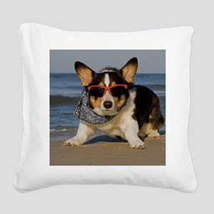 Beach Patrol Officer Square Canvas Pillow