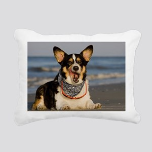 Cute Corgi Licking his C Rectangular Canvas Pillow