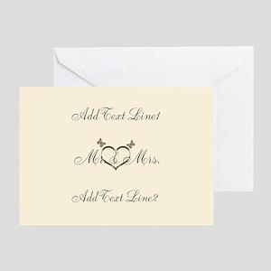 Cute Cream Gold Wedding Thank You Greeting Cards