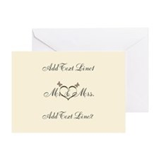 Cute Cream Gold Wedding Thank You Greeting Cards