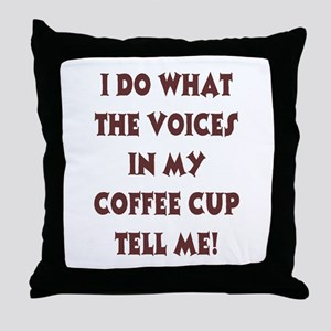 Caffiene Cackles Throw Pillow
