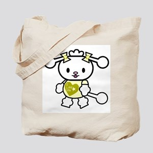 I Love You Poodle Yellow Tote Bag