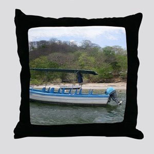 Boat at Estuary Tamarindo, Costa Rica Throw Pillow