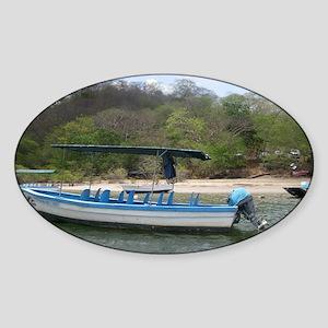 Boat at Estuary Tamarindo, Costa Ri Sticker (Oval)