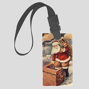 Vintage Christmas Santa Claus Large Luggage Tag