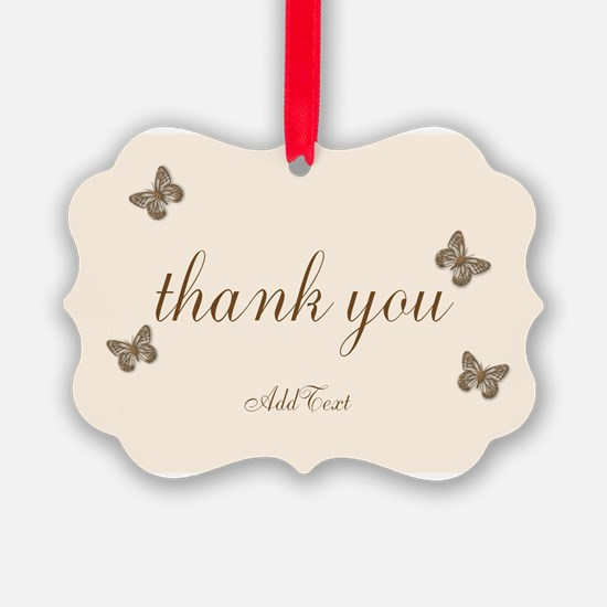 Pretty Thank You Cream Gold Butterflies Ornament