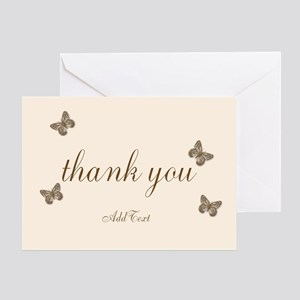 Pretty Thank You Cream Gold Greeting Cards
