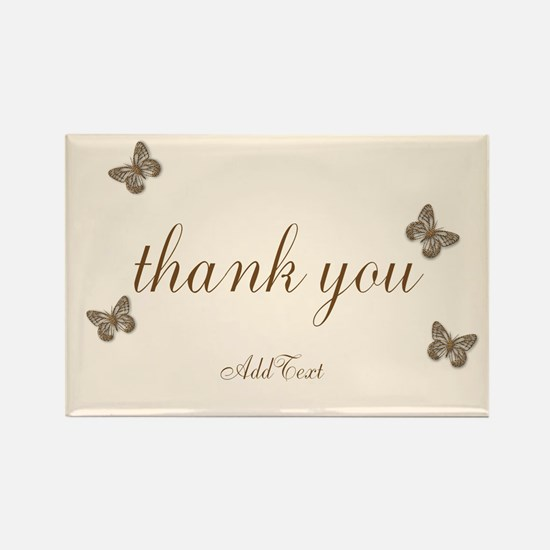 Pretty Thank You Cream Gold Butterflies Magnets