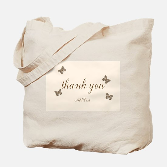Pretty Thank You Cream Gold Butterflies Tote Bag