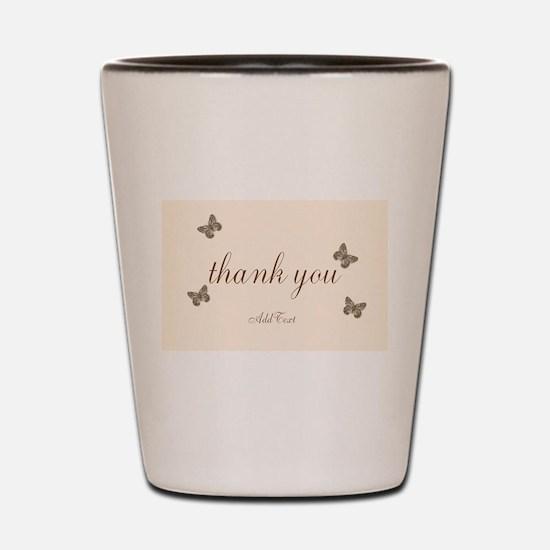 Pretty Thank You Cream Gold Butterflies Shot Glass