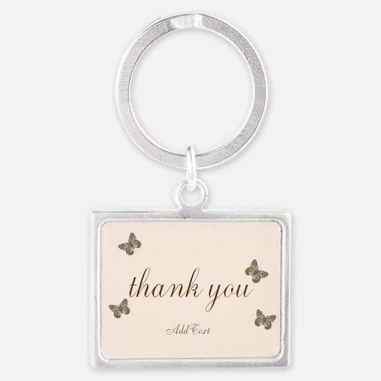 Pretty Thank You Cream Gold Butterflies Keychains