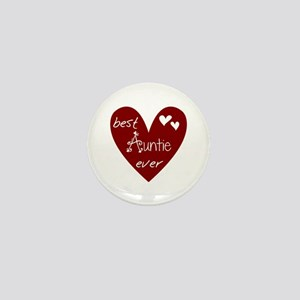 Red Heart Best Auntie Ever Mini Button
