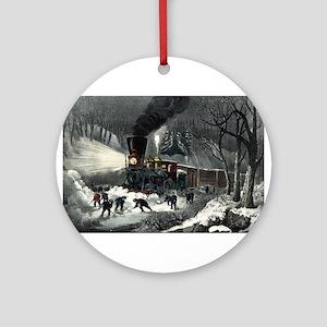 American railroad scene - snowbound - 1871 Round O
