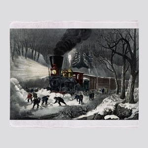 American railroad scene - snowbound - 1871 Throw B