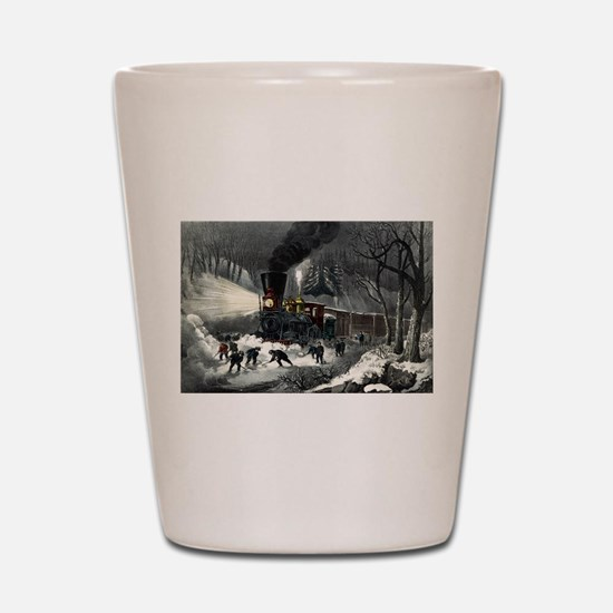 American railroad scene - snowbound - 1871 Shot Gl