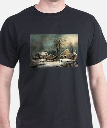 Winter in the country - a cold morning - 1863 T-Sh