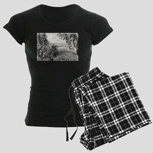 Wild turkey shooting - 1871 Women's Dark Pajamas