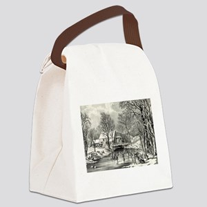 Winter pastime - 1870 Canvas Lunch Bag